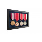 Ramka ekspozytor na 1-4 medale z 4 medalami atłas granatowy