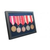Ramka ekspozytor na 1-5 medali z 4 medalami atłas granatowy