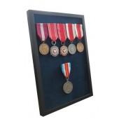 Ramka czarna ekspozytor na 1-10 medali z 6 medalami atłas granatowy